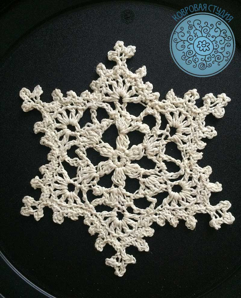 снежинка, вязание крючком, схема